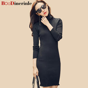 Sweaters-Dresses Knitted-Fabrics High-Collar Women Boodinerinle with Lotus Leaf Slim