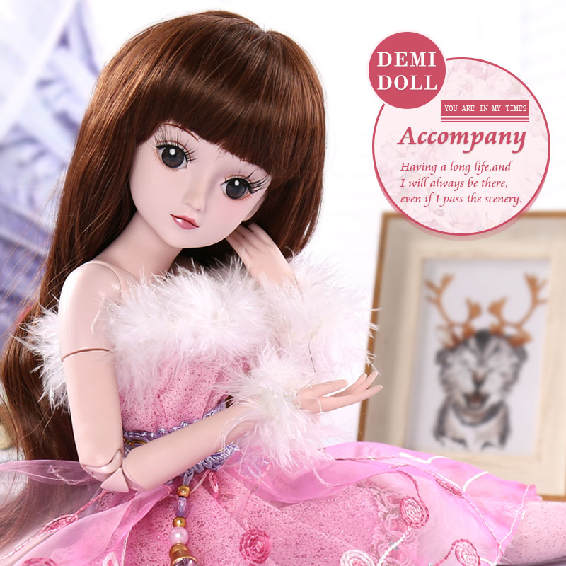 BARBIE 1/3 BJD Doll Princess SD Dolls 19 Joint Body Party Dress Eyes Wig Makeup Dressup With Outfit Dress Toys for Children