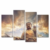 No Frame HD Printed Buddha Wall Canvas Art Modern 4 Piece Poster Painting Picture For Home