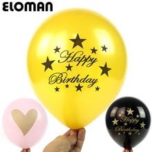 ELOMAN 12inch 10 PCS happy birthday heart balloons party wedding decorations it is a boy girl Gold black latex balloon