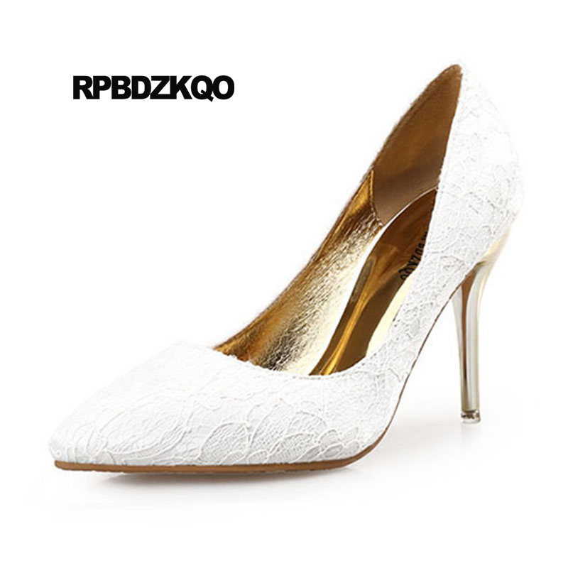 Size 4 34 Medium Heels Pumps Wedding 2018 Ivory Lace Bridal Shoes Scarpin Customized 33 Big Multi Colored Pointed Toe High Women