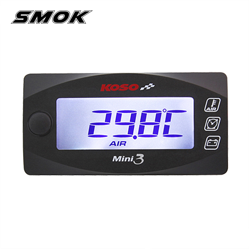 SMOK Universal Motorcycle Multi-Function Mini 3 Digital Air Temperature Thermometer Voltmeter Time Water Meter Gauge For KOSO
