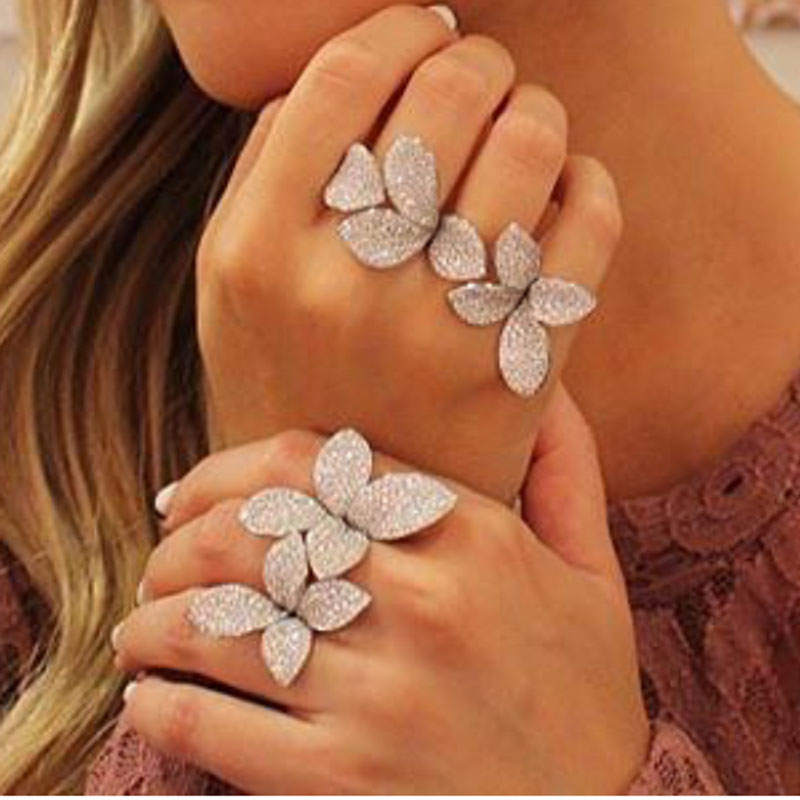 GODKI Fashion Luxury Flower Leaf AAA Cubic Zirconia Brand New Engagement Resizable Ring  ...