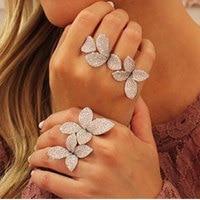 GODKI Fashion Luxury Flower Leaf AAA Cubic Zirconia Brand New Engagement Resizable Ring For Women Glitter
