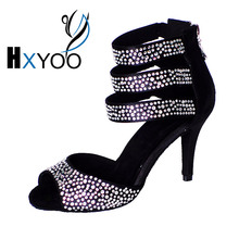 HXYOO New Arrival Black Rhinestone Women Latin  Dance Shoes Ballroom Girls Soft Sole Ladies Salsa Tango Dancing shoes WK039