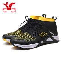 2017 Summer XIANG GUAN Man Running Shoes Athletic Summer Light Mesh Breathable Outdoor Sneakers Black white Sports Shoes USA6-12