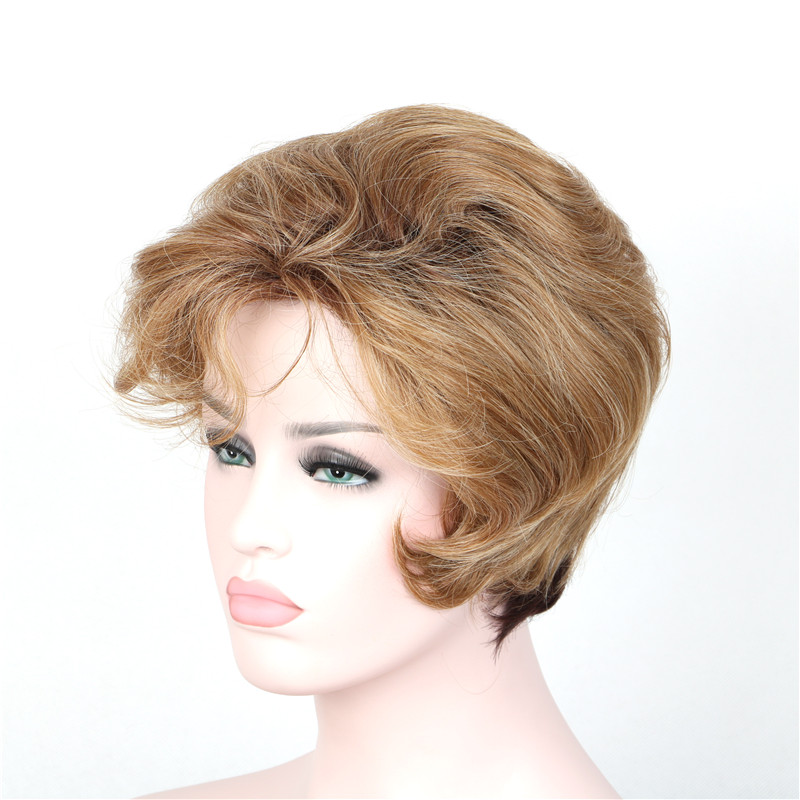 WoodFestival blonde short curly wig synthetic hair wigs for women heat resistant fiber wig ombre brown