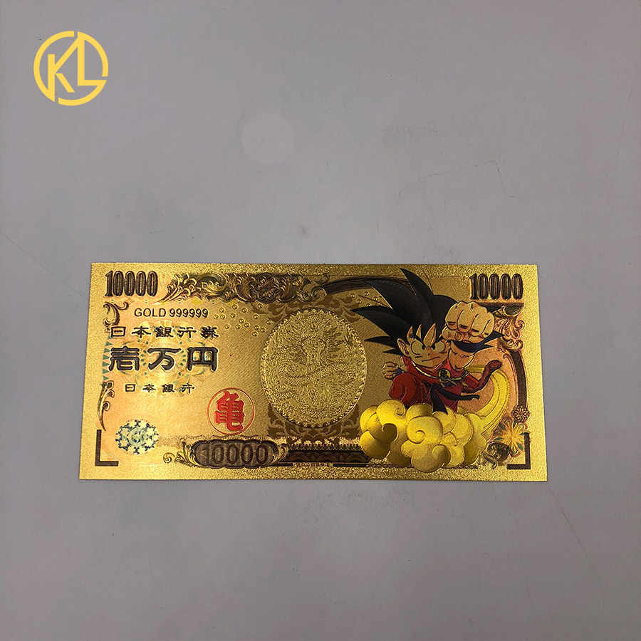 1pc Japan 10000 Yen Bill Paper Money Gold Foil Banknote Qute dragon ball Sun Wukong Gold Plated Banknote Collection Gifts