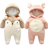 New Baby Winter Clothes One piece Hooded Romper Soft Baby Jumpsuits Snowsuits Newborn Baby Clothing for winter