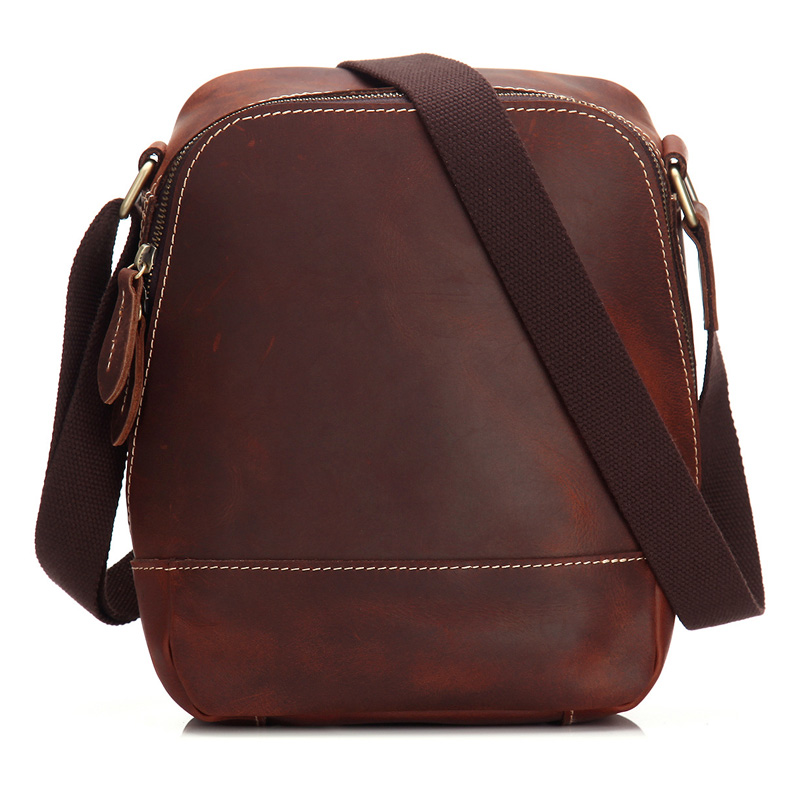 Crazy Horse Genuine Leather Men's Cross Body Shoulder Handbag Crossbody Messenger Bag Briefcase For Man MS3950