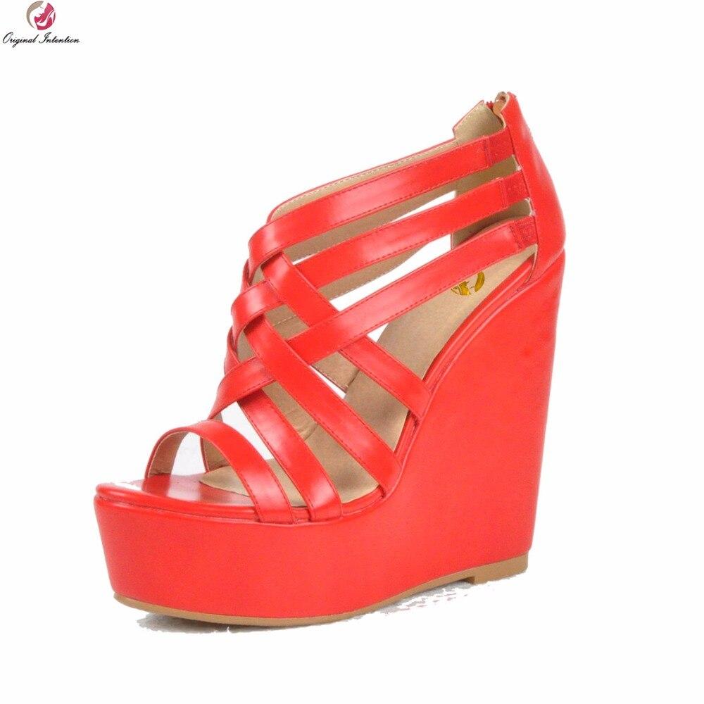 Original Intention New Elegant Women Sandals Fashion Open Toe Wedges Heels Sandals Beautiful Red Shoes Woman Plus US Size 4-15 стоимость