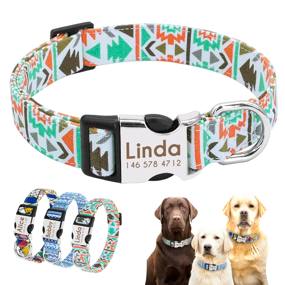 Small Dog Collar Personalized Nylon Small Dog Collars Chihuahua Puppy Collar Engrave Name ID For Small Medium Large Pet Pitbull