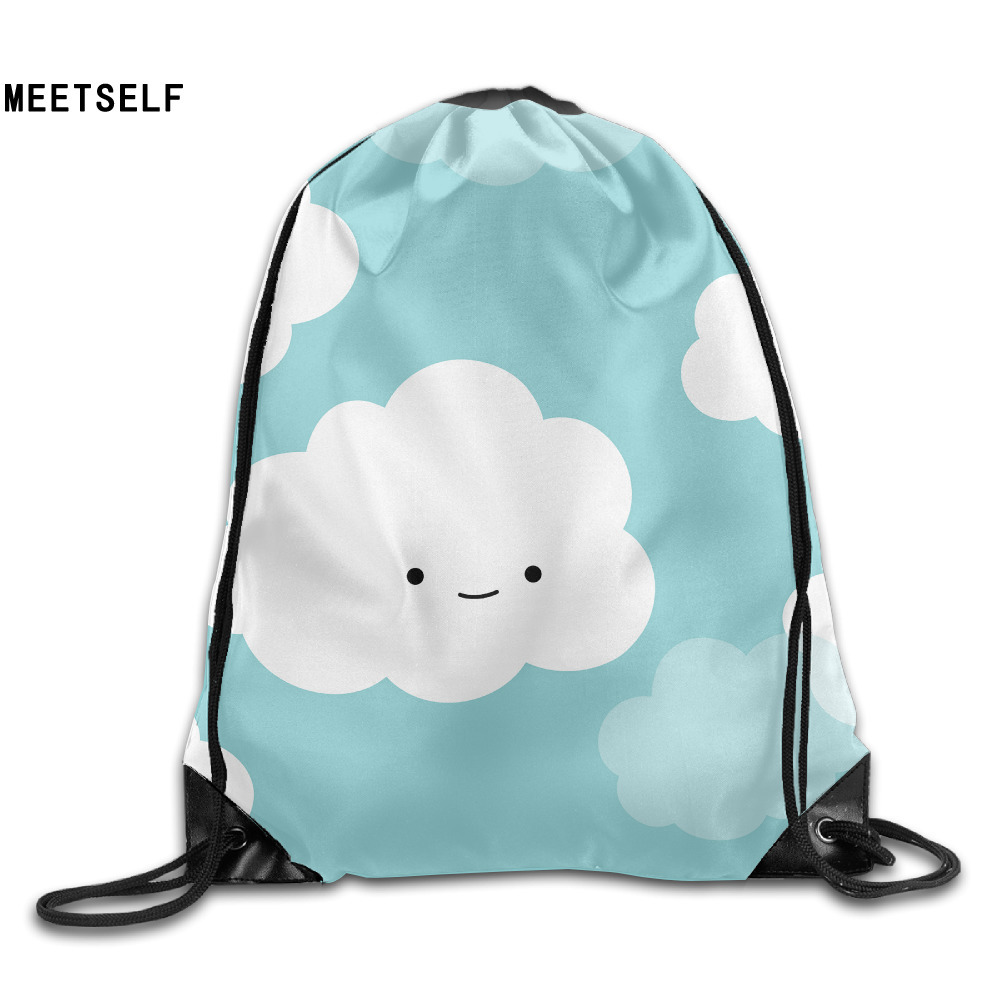 Samcustom 3d Print Cute Little Cloud Shoulders Bag Women Fabric Backpack Girls Beam Port Drawstring  Dust Storage Bags