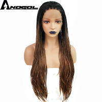 Anogol Burgundy Black Twist Brown Ombre Dark Roots Hand Tied Heat Resistant Fiber Hair Wigs Synthetic Braided Lace Front Wig