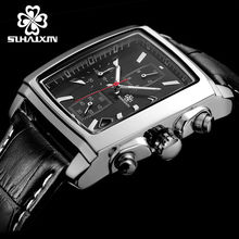 SIHAIXIN Mens square Watch Top Quality Watches Luxury Brand Military Sport Wrist Watch Chronograph Luminous Leather Quartz Watch