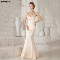 Light Champagne Sexy Mermaid Wedding Dress Spaghettic Straps Elegant Wedding Dresses Long Bridal Gowns Formal Dresses