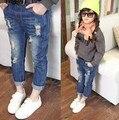 2015 Autumn Spring Girls Jeans Kids Jeans Baby Children Boys Girls Casual Denim Pants Fashion Hole Girls Kids Pants Harem 2-8Y