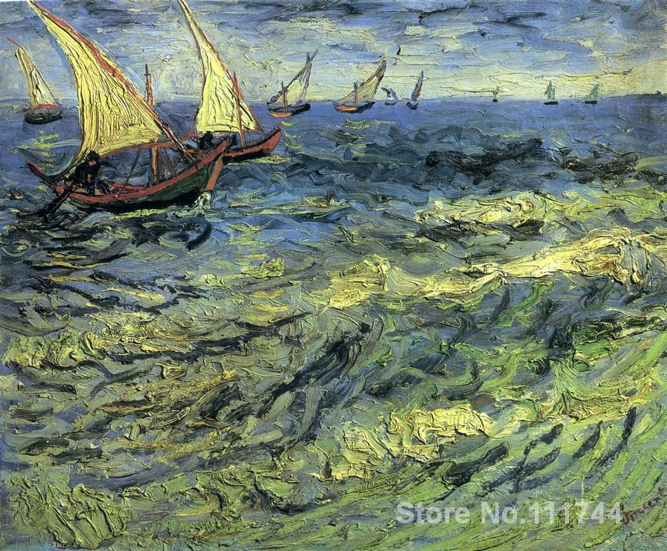US $102.96 22% di SCONTO|Famosa arte per la camera da letto Barche Da Pesca  in Mare Vincent Van Gogh dipinti dipinto A Mano di Alta qualità-in Pittura  ...