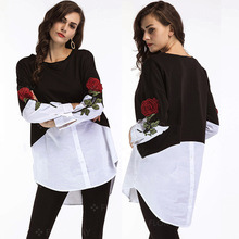 New Women Rose Print Embroidered Shirt Stitching Color Loose Long Sleeve Tops Irregular Button Tops Blouse