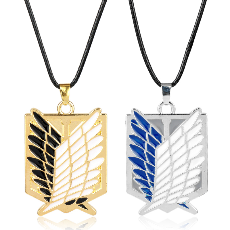 Attack on Titan Necklaces Pendants Wings Of Liberty Metal Unisex Leather Chain Fashion Jewelry Pendant Two Colors