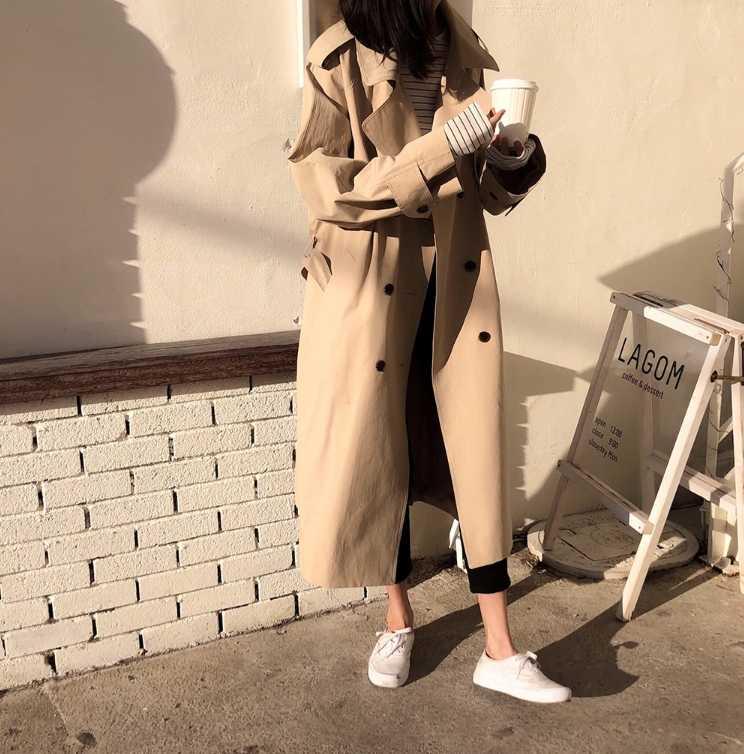 แฟชั่นผู้หญิง 2019 ฤดูใบไม้ผลิเสื้อผ้าผู้หญิงสีขาว Windbreaker Double Breasted สุภาพสตรียาวสไตล์เกาหลีสำหรับสาว