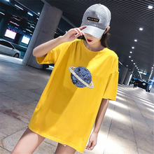 Womens Summer Trends Hip Hop Cartoon Saturn Print T-Shirt Creative Fashion College Wind Girls Loose Breathable Fun Short Sleeve