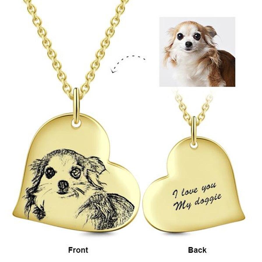 Personnalisé 925 argent Sterling amour coeur personnalisé gravé Photos 3 couleur collier réglable 16-20 collier