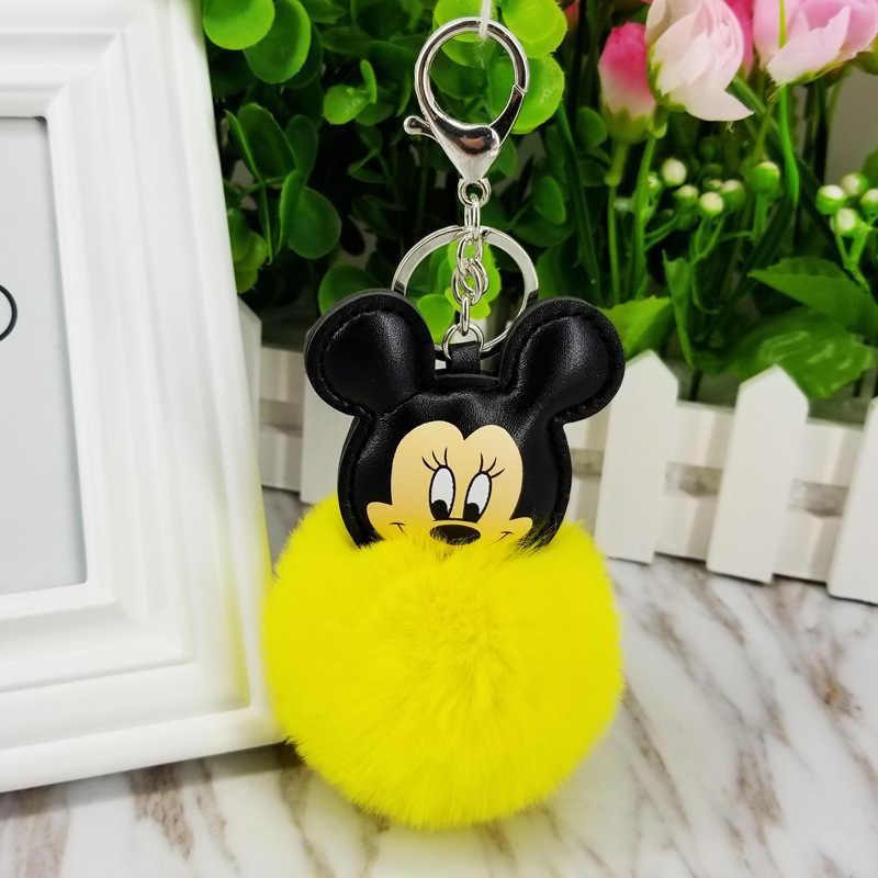 12 cores Fofo Bola de Pêlo de Coelho Mickey Mouse Em Forma de Chaveiro Bonito Creme Preto Pompom Coelho Artificial Mulheres Saco Carro anel chave