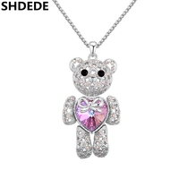 Crystal Bear Necklace Women Fashion Vintage Jewelry White Gold Plated Crystal From Swarovski Long Sweater Chain
