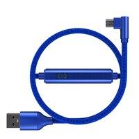 1 м 2 м Micro USB кабель 90 градусов с таймером нейлоновый Плетеный 2.4A Быстрая зарядка кабель для передачи данных для huawei samsung xiaomi Android телефон