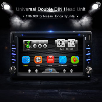 Car 2Din Universal In Dash GPS Navigator Bluetooth Radio CD DVD MP3 Video Media Player Head Unit Stereos 6.2 Inch Touch Screen image