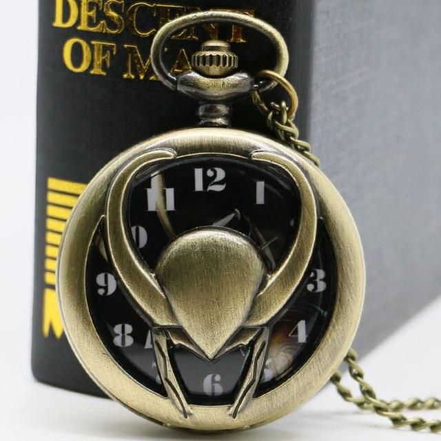 Hollow Quartz Pocket Watch Bronze Vintage Thor The Avengers Loki Fob Watches Men