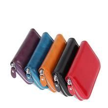 KANDRA Personalized High Quality Handmade Genuine Leather Card Holders for Women Men Vintage Credit Holder Zipper Purses