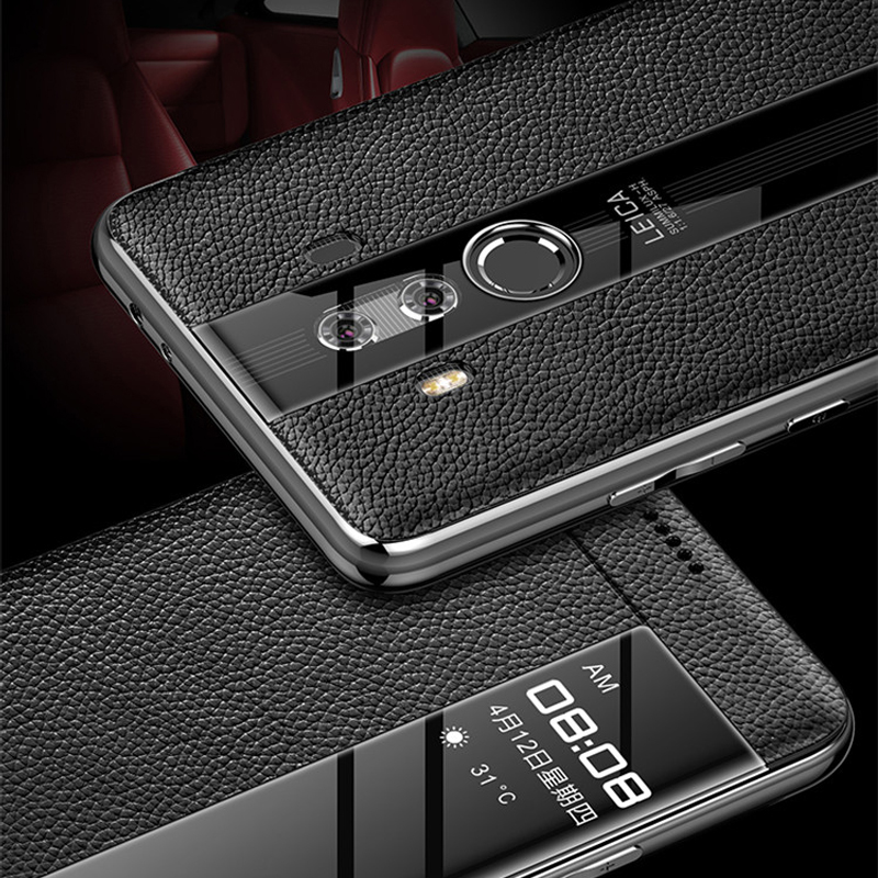 Image 5 - For Huawei Mate 10 Pro 9 pro Genuine leather case Phone protection windows view true flip leather case cover for huawei mate 10-in Flip Cases from Cellphones & Telecommunications