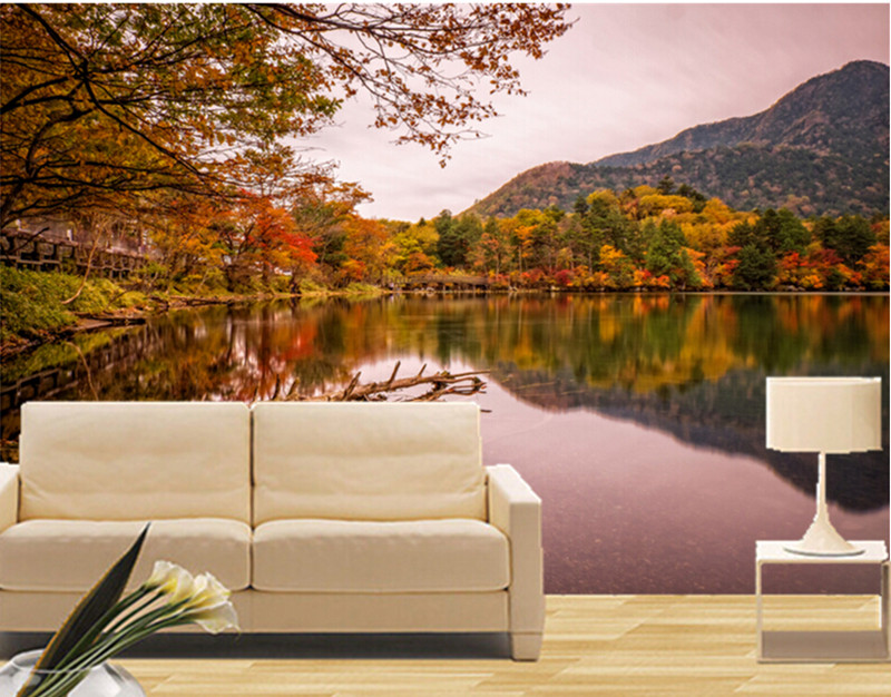 Custom 3D Nature murals,Japan Parks Pond Autumn Trees wallpapers, hotel restaurant living room  TV wall bedroom papel de parede custom 3d murals forests trees rays of light tree nature photo wall living room sofa tv wall bedroom restaurant wallpapers