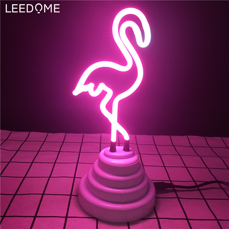 Leedome Retro Neon Sculpture Real Glass Tube Flamingo Neon Night Lamp  DC5V Neonlights Sign Handcrafted Home Decoration Lighting