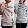 2016 moda delgado atractivo y montones de cuello sólido de manga larga de tocar fondo suéteres