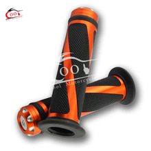 1 Set Dark Orange Universal 7/8″ Motorcycle Bike Rubber Handlebar Hand Grips with Caps Bar Ends