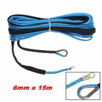 6mm X 15m 6400 LBs ATV Vehicle Synthetic Fiber Winch Rope Cable Replacement Blue
