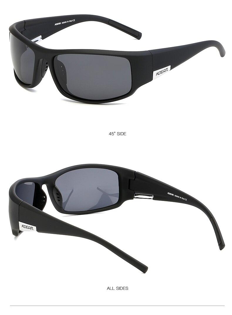 2019 KDEAM Men Sport Sunglasses TR90 Frame HD Polarized mirror lens Comfortable silicone non-slip UV400 5 Colors with case KD111