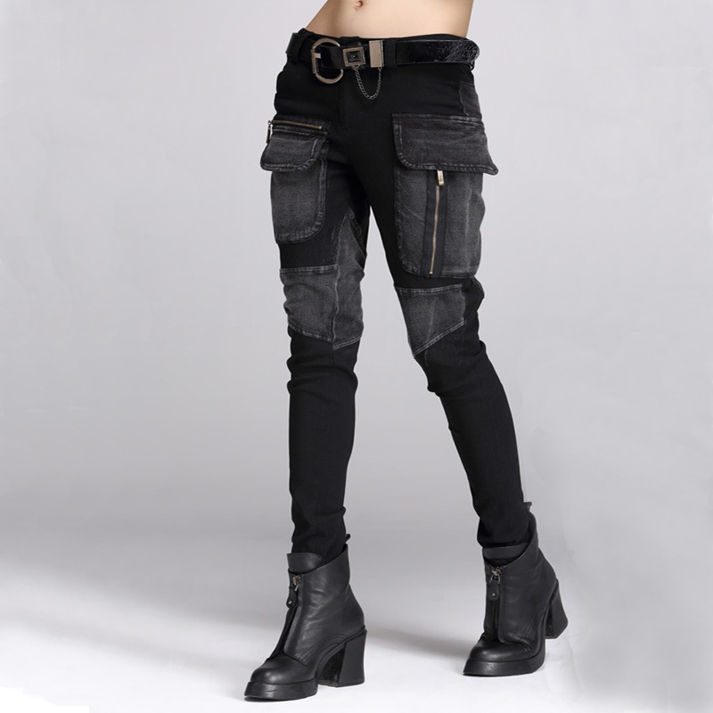 High Quality Spring Autumn Women Black Jeans Trousers Female Personality Baggy Large Pockets Zipper Pencil Pants Harem Pants