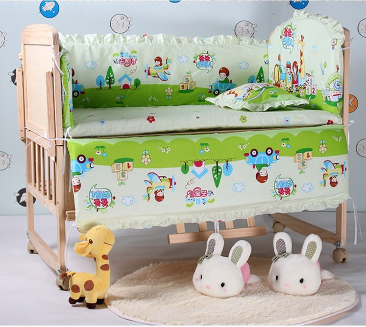 Promotion! 6PCS Baby cot bedding kit bed around cribs for babies cot bumper (3bumper+matress+pillow+duvet)