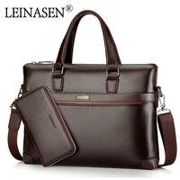 LEINASEN Brand Casual Pu Leather Men S Handbags With Belt Messenger Bags Business Handbag Laptop Male