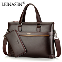 LEINASEN Brand Casual Pu Leather Men S Handbags With Belt Messenger Bags Business Handbag Laptop Male