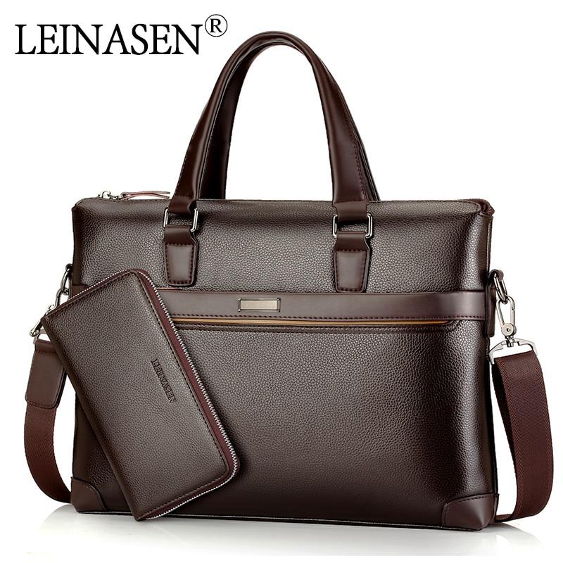 LEINASEN Brand Men casual pu leather messenger bag Men's bag Handbags pelle Messenger Bag Business Handbag Laptop Male Briefcase цена 2017