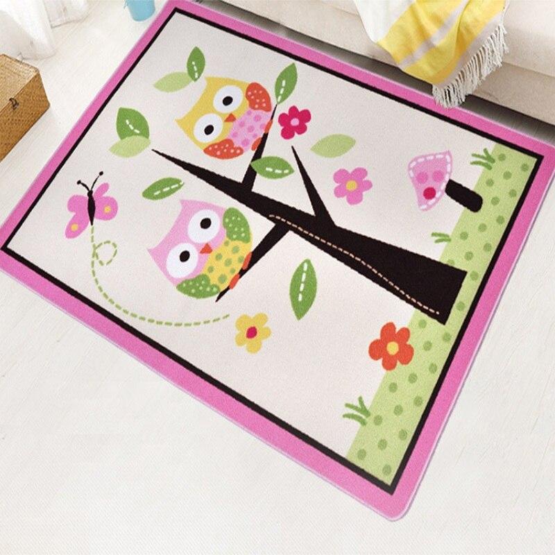 Unique Cartoon Owl Carpet Designer Pink Fairy Girls Rug For Living Room Delicate Butterfly Kids Rug