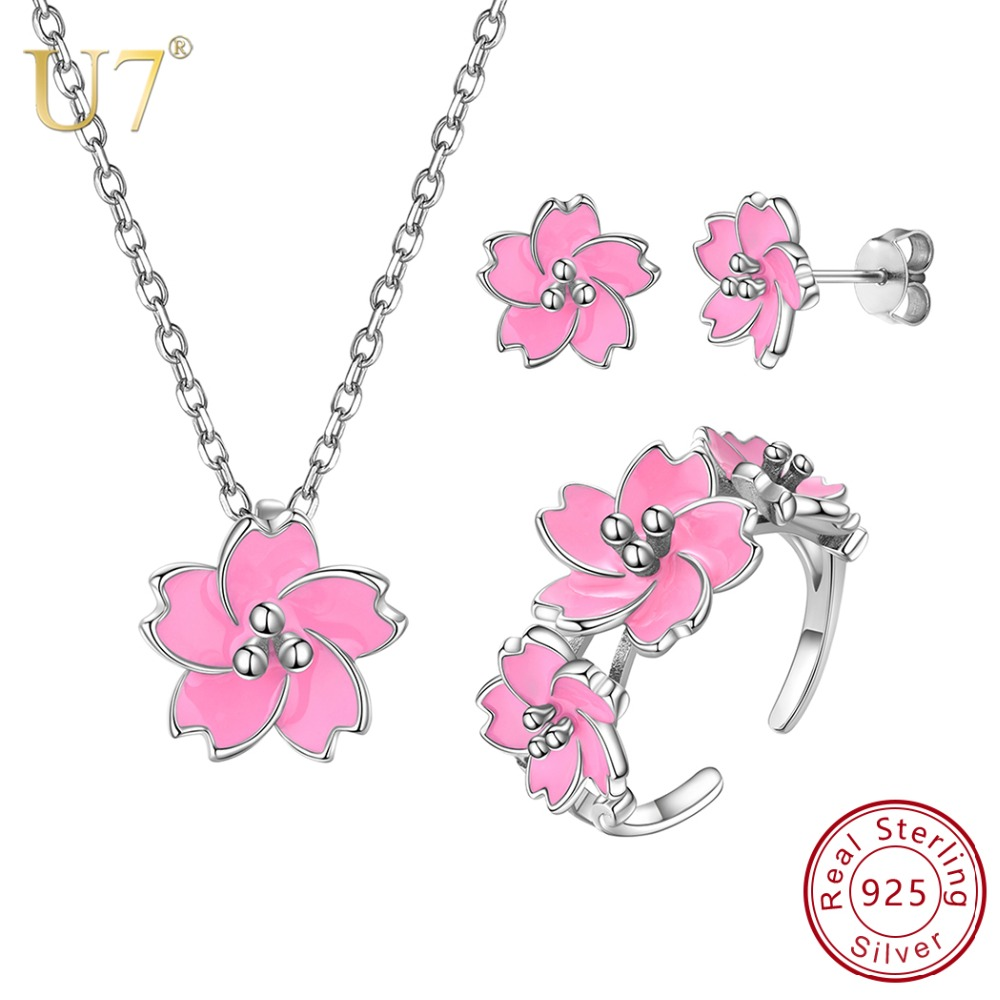 U7 925 Sterling Silver Cherry Blossoms Sakura Pink Flower Necklace Woman Wedding Engagement Earrings and Rings Jewelry Set SC272