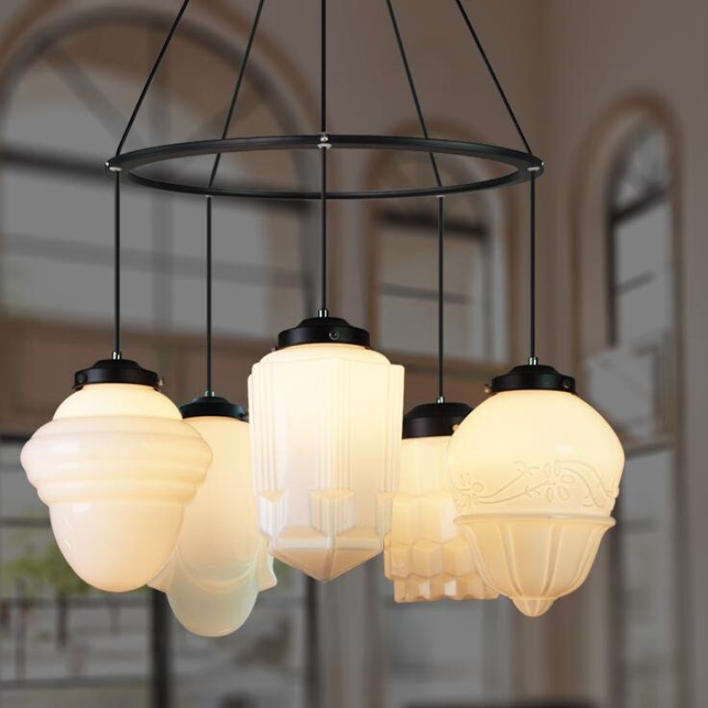 Art Deco Suspension Lamp Dinning Room Vintage Milk Glass Pendant Lamp White Glass Pendant Light Nordic Lighting Hotel Restaurant