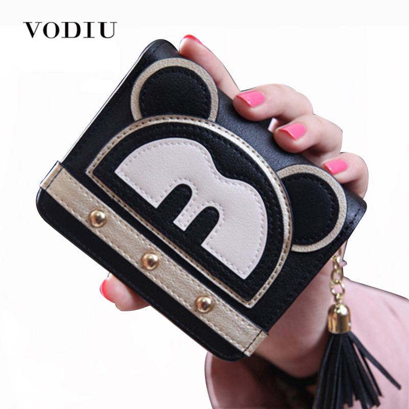 2017 Luxury Cute Mickey Leather Trifold Rivet Mini Wallet Women Small Clutch Female Purse Coin Card Holder Dollar Bag Portomonee 2017 korean cute anime cat leather trifold hasp mini wallet women small clutch female purse brand coin card holder dollar price