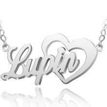 e6ac600fd160 Venta al por mayor personalizada nombre Collar de plata de ley pendiente  encanto de la forma del corazón joyería de encargo Navi.